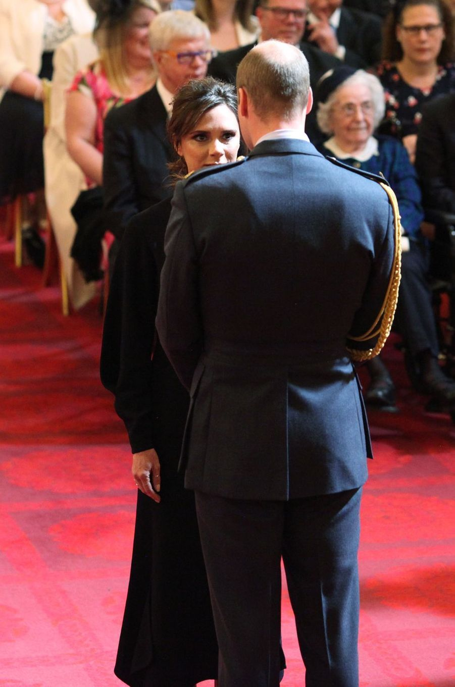 Le prince William et Victoria Beckham à Londres, le 19 avril 2017