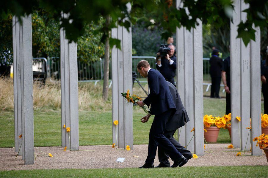 Le prince William au 7 July Memorial à Hyde Park à Londres, le 7 juillet 2015