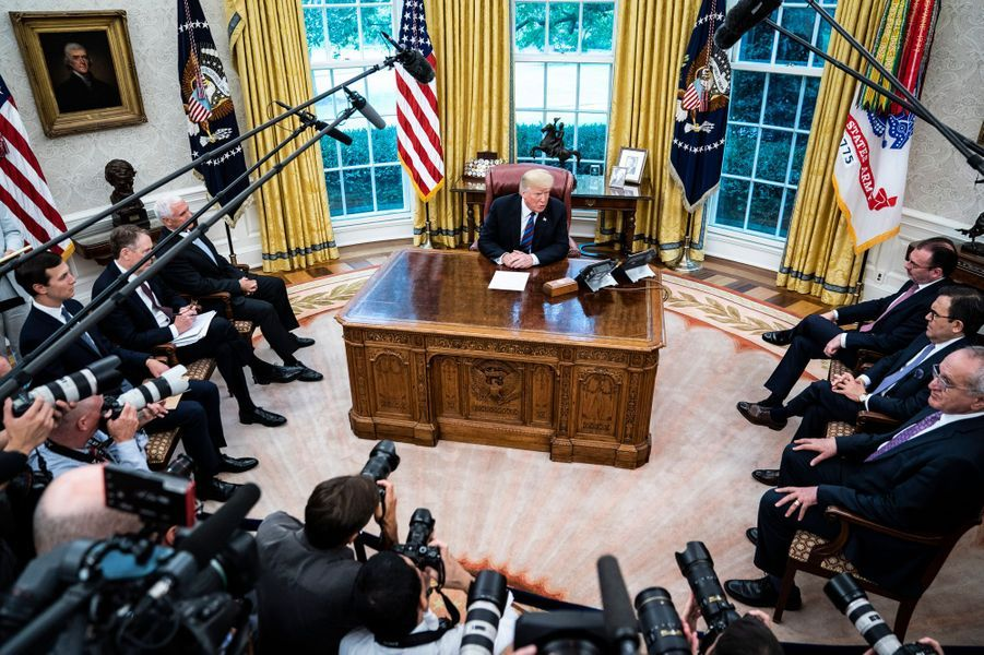 """Le """"Resolute desk"""" est actuellement le bureau de Donald Trump. Le 28 août 2018"""