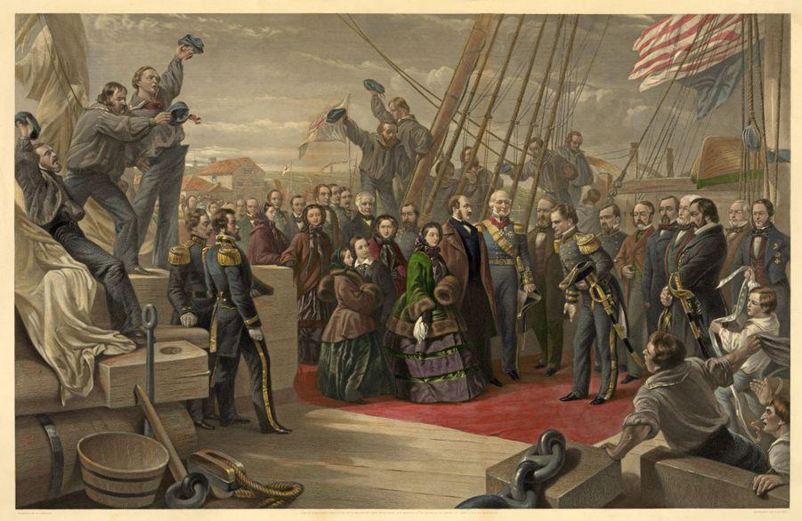 La reine Victoria à bord du H.S.M Resolute de retour au Royaume-Uni, le 16 décembre 1856