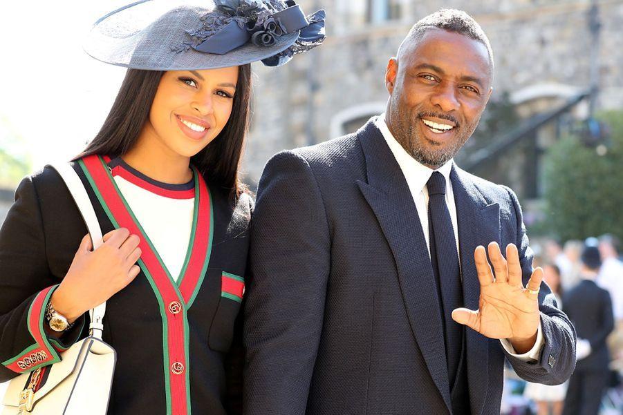 L'acteur Idris Elba et sa compagne Sabrinaau mariage de Meghan et Harry.