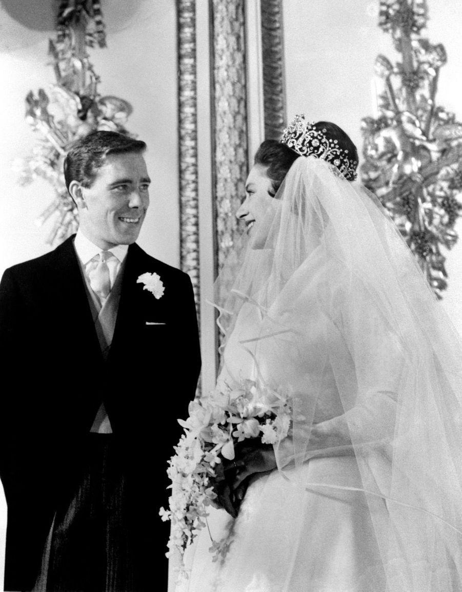 La princesse Margaret et Lord Snowdon, le jour de leur mariage, le 6 mai 1960