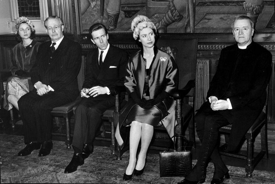 La princesse Margaret et Lord Snowdon à l'Abbaye de Westminster en mars 1963