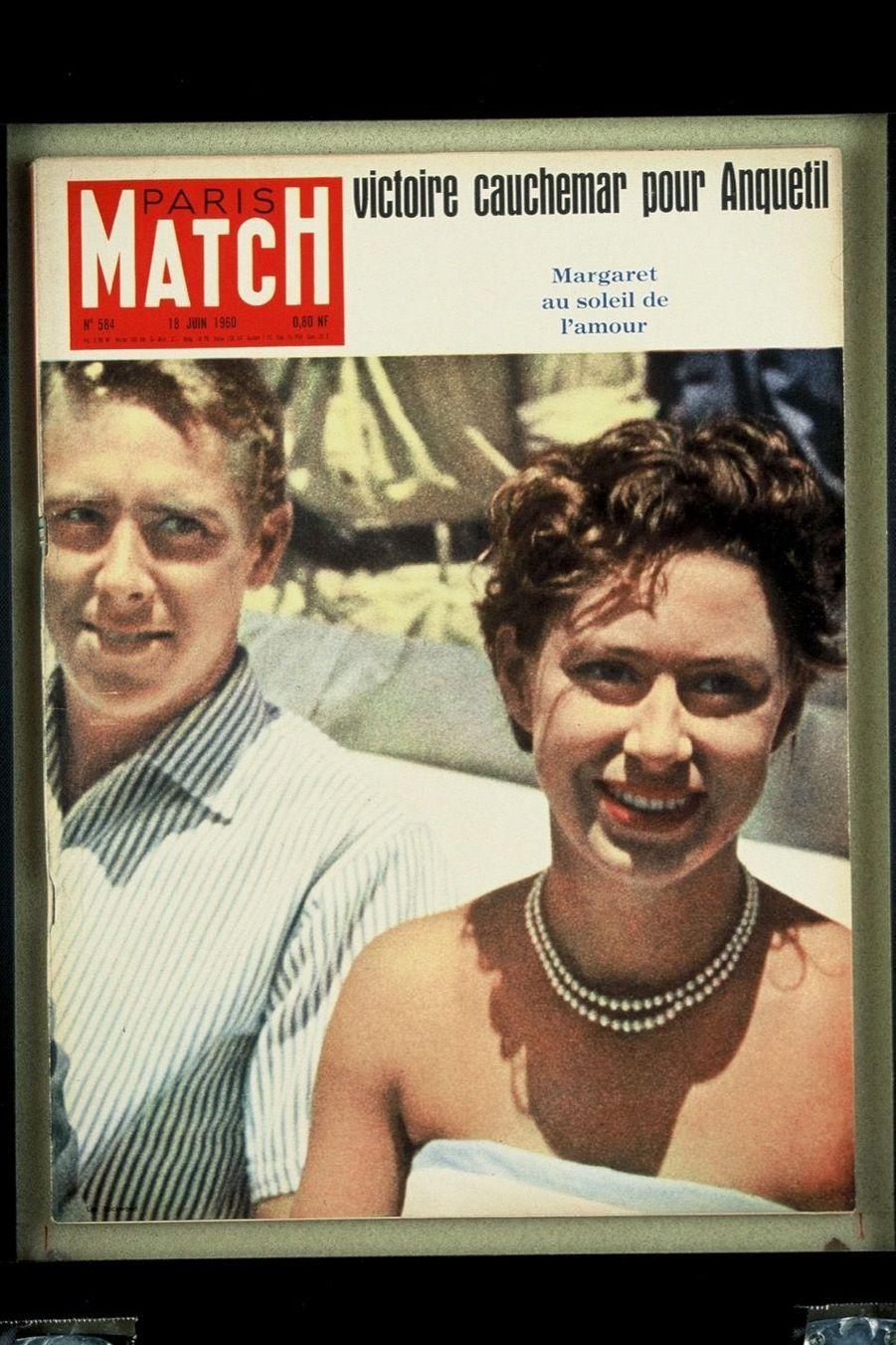 La princesse Margaret et Lord Snowdon, en couverture de Paris Match en juin 1960