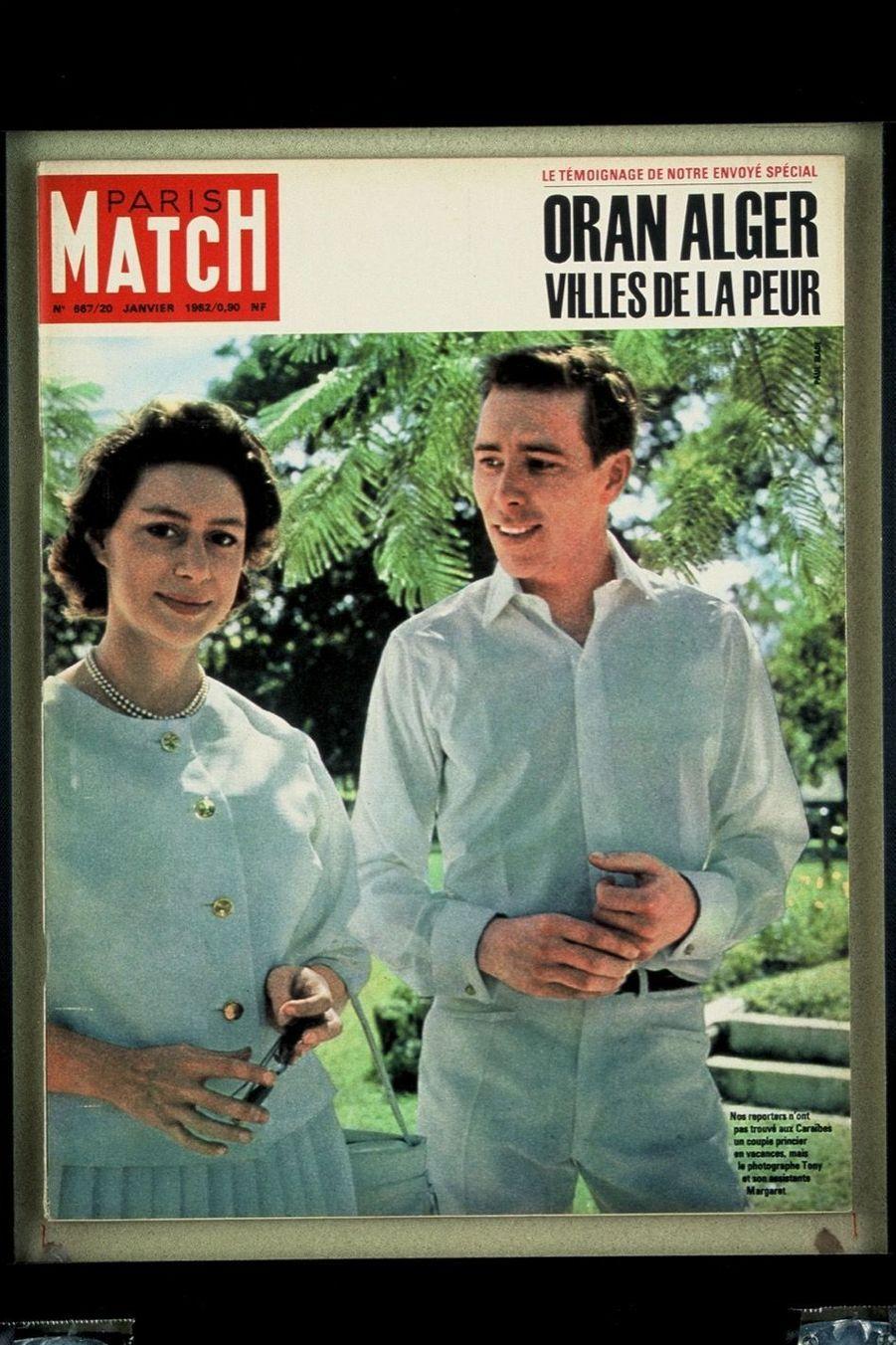 La princesse Margaret et Lord Snowdon, en couverture de Paris Match en janvier 1962