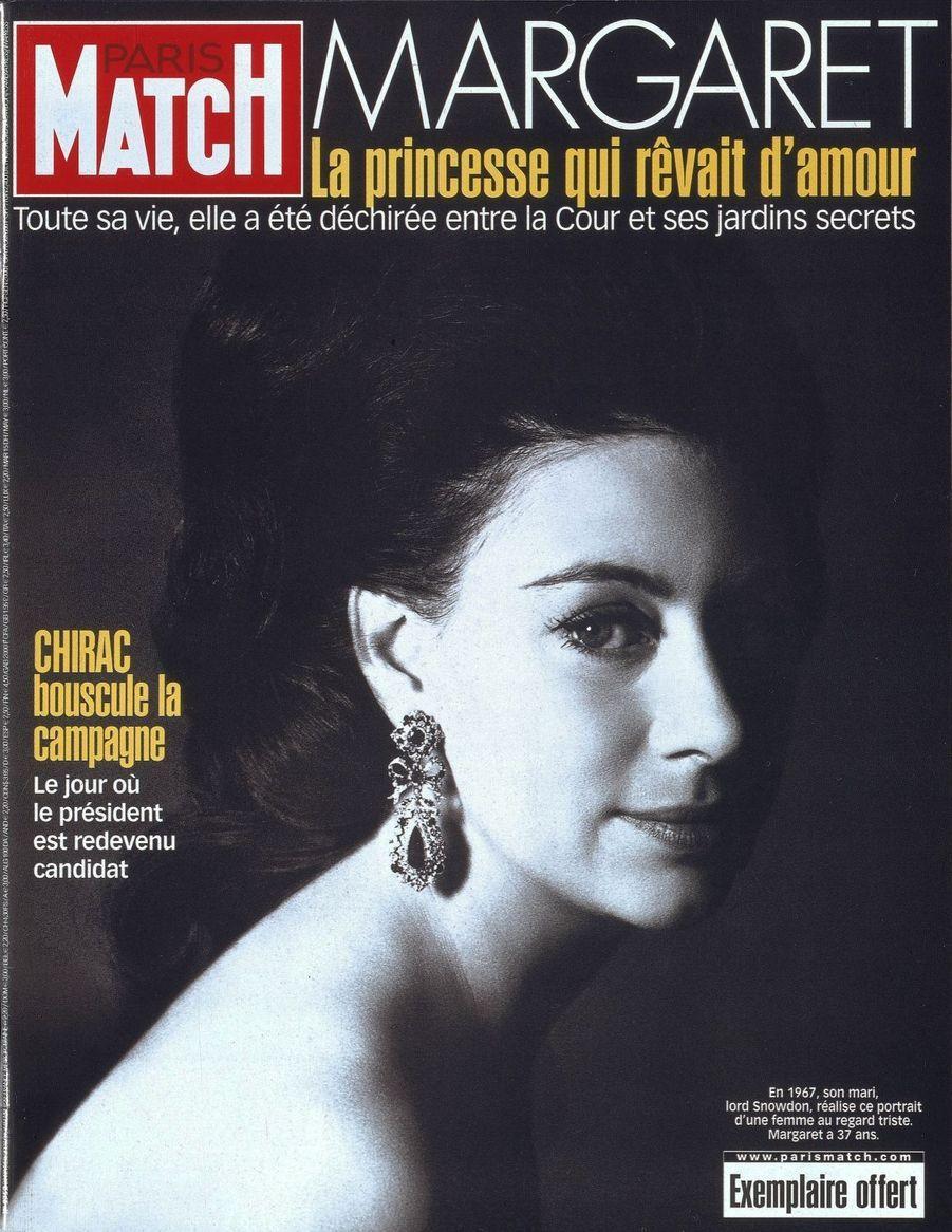 La princesse Margaret photographiée en 1967, en couverture en février 2002