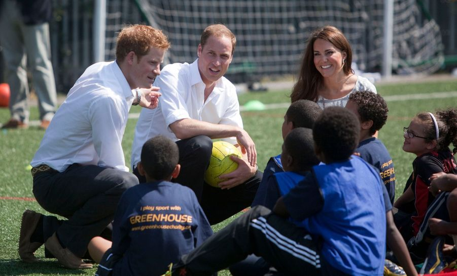 Kate, William et Harry font la promotion du sport à Londres, le 26 juillet 2012