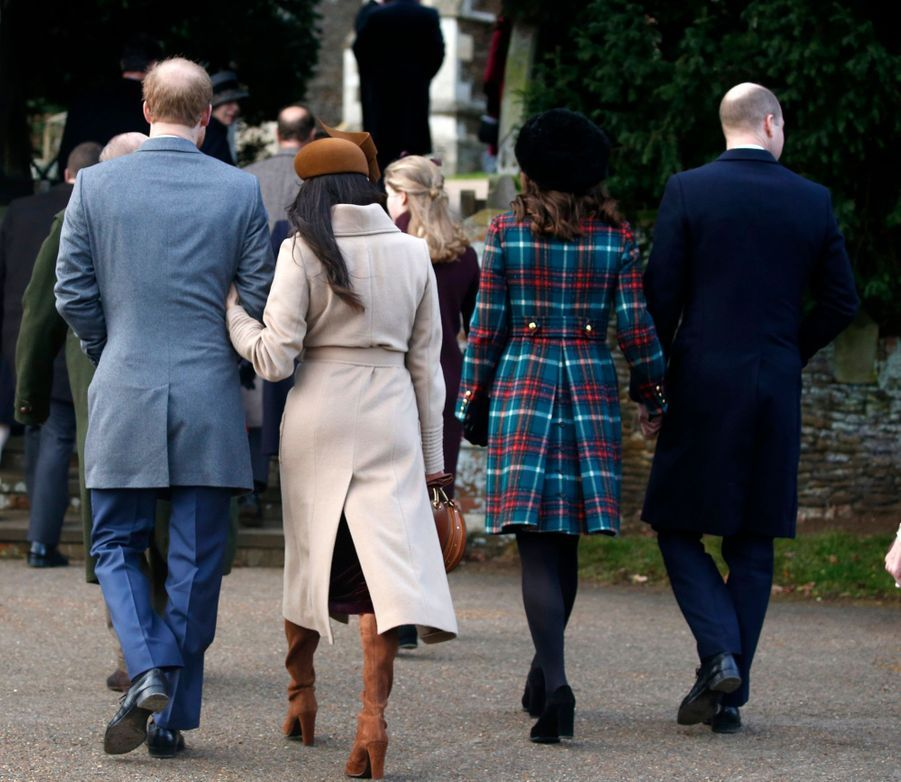 Kate et William, Harry et Meghan à la messe de noël de Sandringham, le 25 décembre 2017.