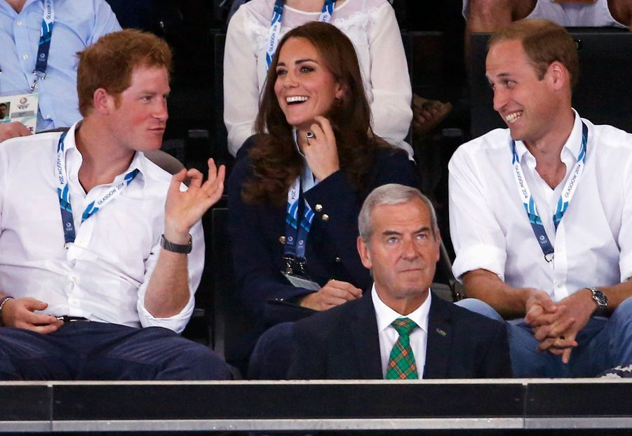 Kate, William et Harry lors des Jeux du Commonwealth à Glasgow, le 28 juillet 2014
