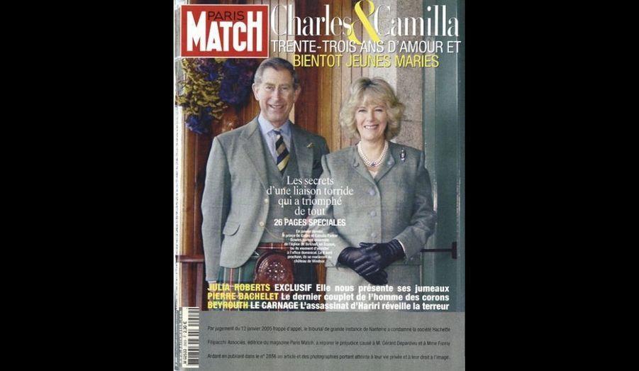 17 Fevrier 2005. Charles et Camilla, 33 ans d'amour et bientôt jeunes mariés.