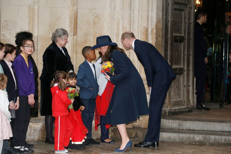 La duchesse Catherine de Cambridge et le prince William à Londres, le 12 mars 2018