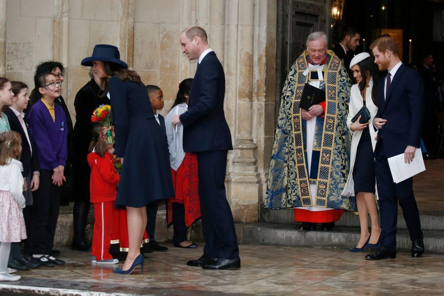 La duchesse Catherine de Cambridge, les princes William et Harry et Meghan Markle à Londres, le 12 mars 2018