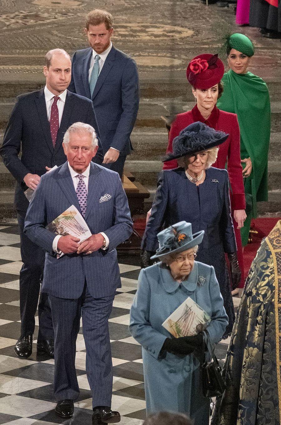 Harry et Meghan lors de leur dernier engagement officiel avec la famille royale à la cérémonie du Commonwealth en mars 2020