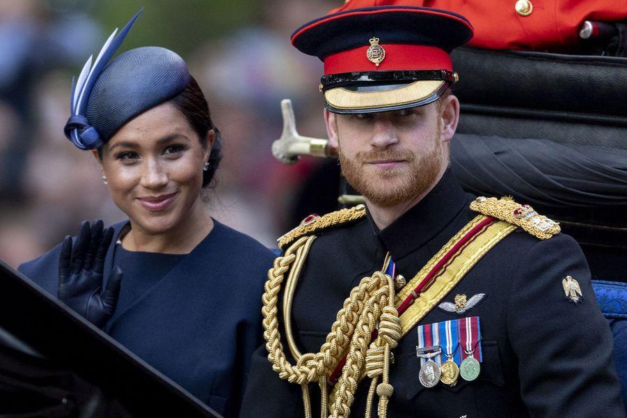 Harry et Meghan lors de la parade Trooping the Colour en juin 2019