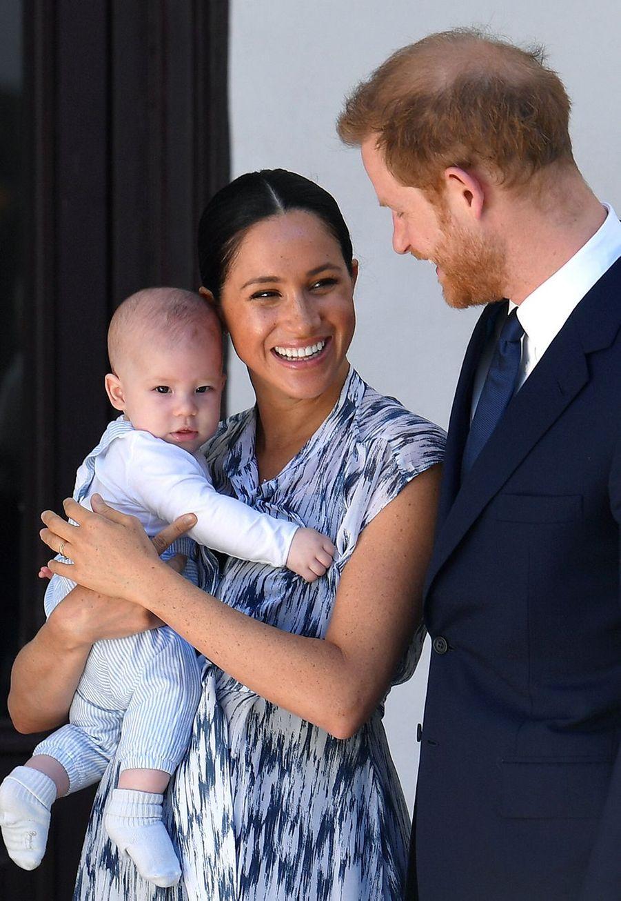 Meghan Markle, le prince Harry et leur fils Archie rendent visite à Desmond Tutu et sa filleTheresa Thandeka au Cap en Afrique du Sud le 25 septembre 2019