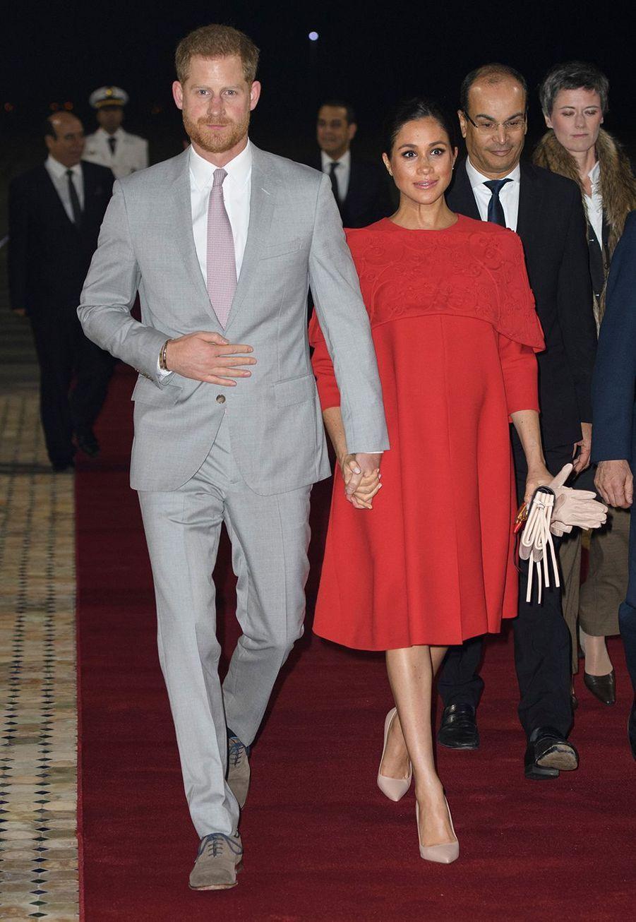 Meghan Markle enceinte et le prince Harry arrivent à Casablanca au Maroc le 23 février 2019.