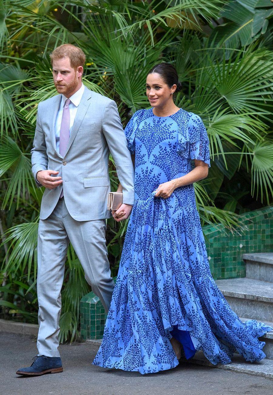 Meghan Markle enceinte et le prince Harry s'apprêtent à rencontrerle roiMohammed VI à Rabat le 26 février 2019.
