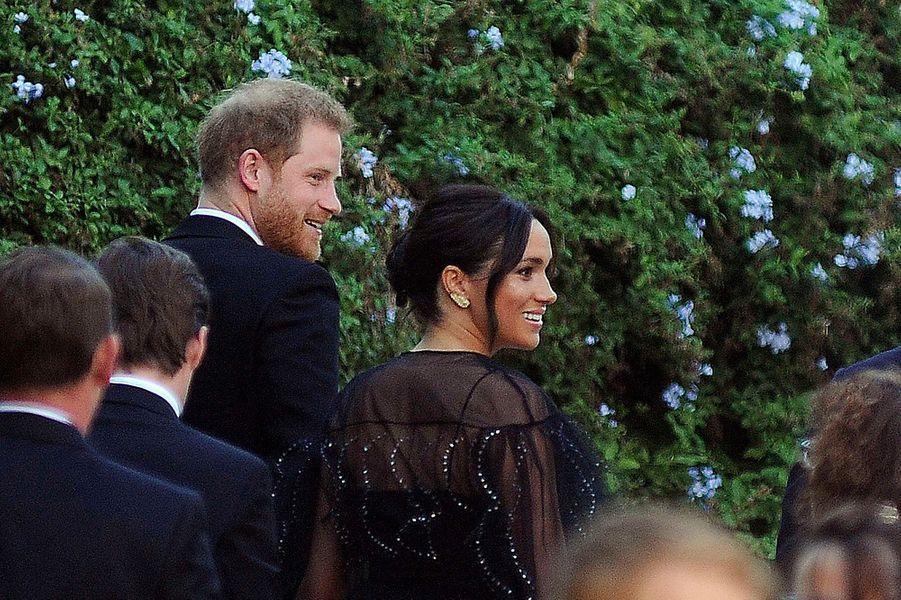 Meghan Markle et le prince Harry arrivent au mariage deMisha Nonoo et Mike Hess à Rome le 20 septembre 2019.