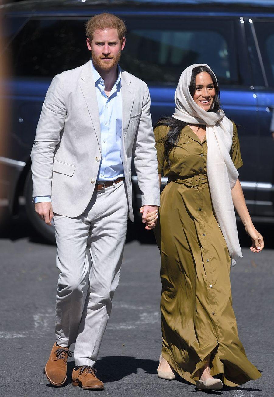 Meghan Markle et le prince Harry se rendent à la mosquée Auwal de Cape Town pendant leur voyage officiel en Afrique du Sud le 24 septembre 2019.