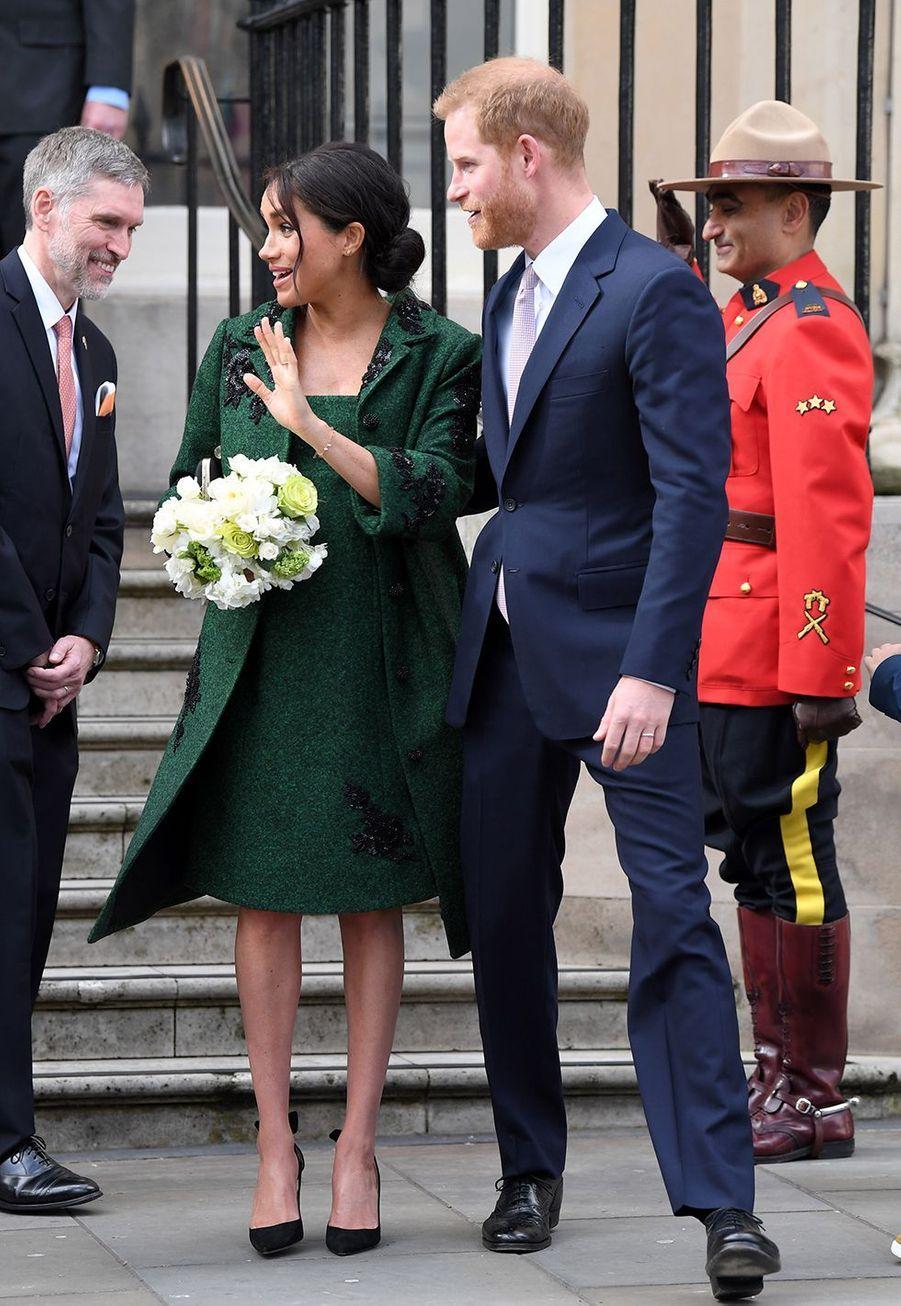 Meghan Markle enceinte et le prince Harry assistent auCommonwealth Day Youth Event à Londres le 11 mars 2019.