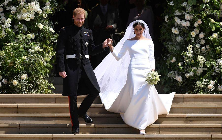 Meghan Markle et le prince Harry au château de Windsor, le 19 mai 2018