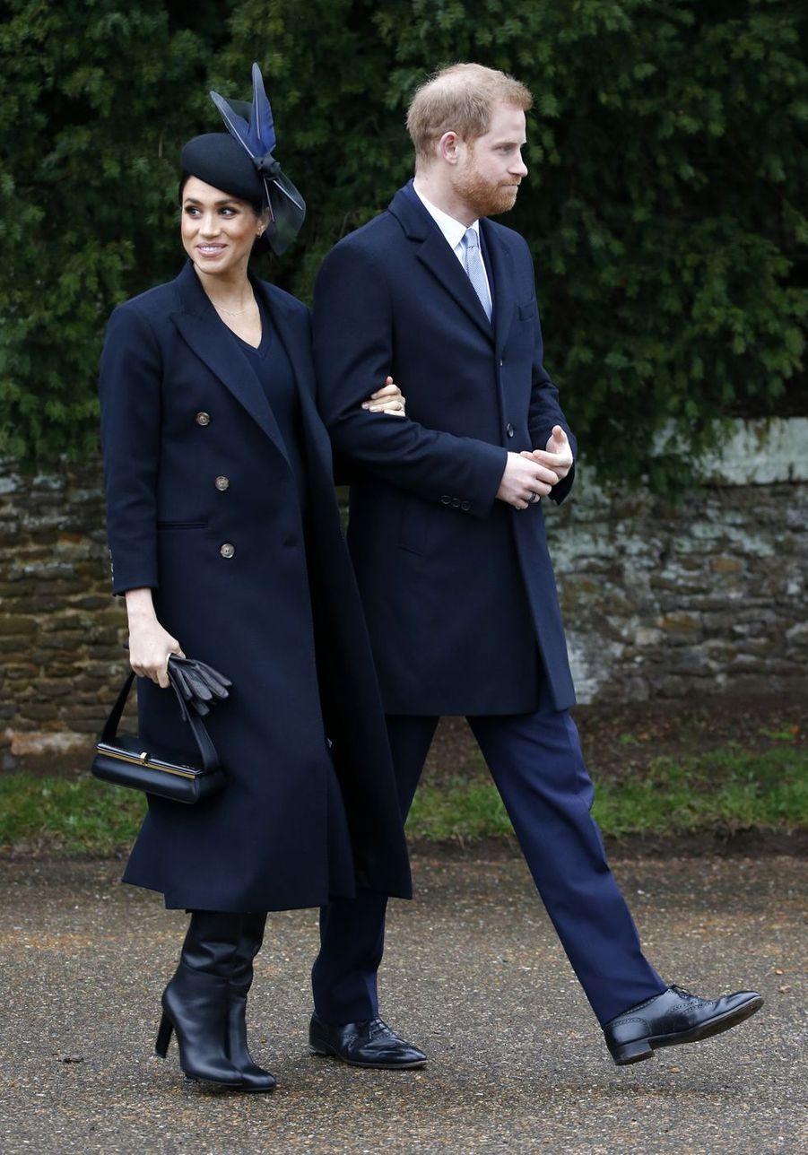 Meghan Markle et le prince Harry àSandringham, le 25 décembre 2018
