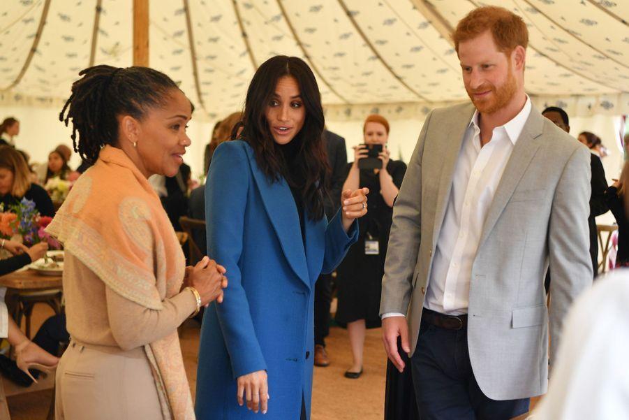 Meghan Markle, sa mère DoriaRagland et le prince Harryà Londres, le 20 septembre 2018