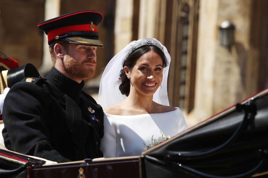 Meghan souriante lors de son mariage avec le prince Harry le 19 mai 2018.