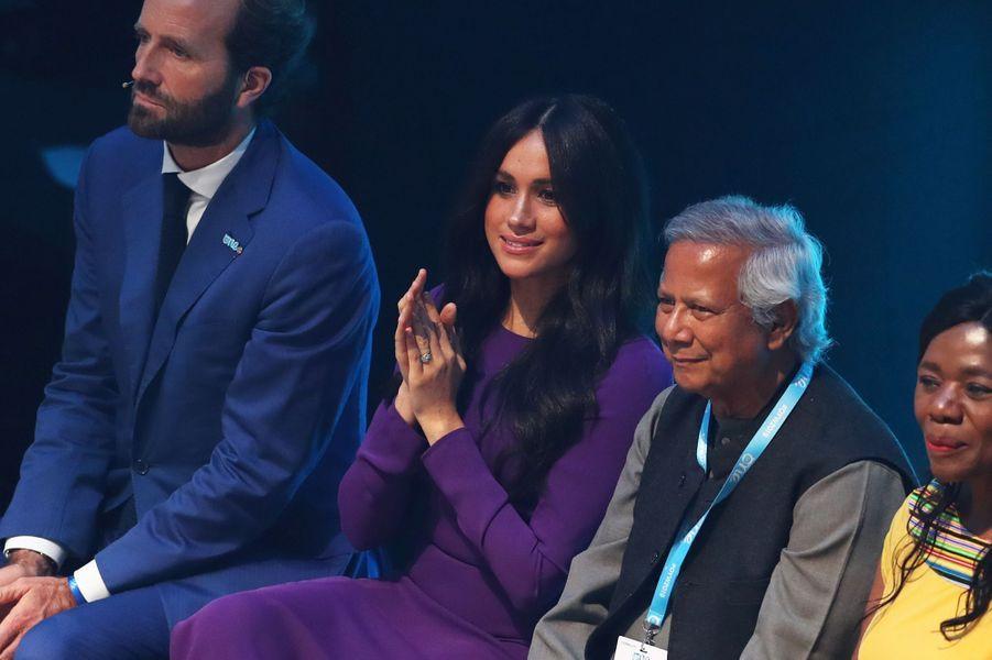 Meghan Markleà l'ouverture du sommet One Young World au Royal Albert Hall à Londres le 22 octobre 2019