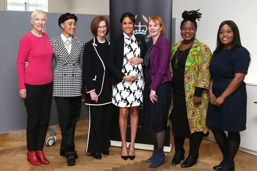 Annie Lennox, Adwoa Aboah, Julia Gillard, Meghan Markle, Anne McElvoy, Angeline Murimirwa et Chrisann Jarrettau King's College London le 8 mars 2019