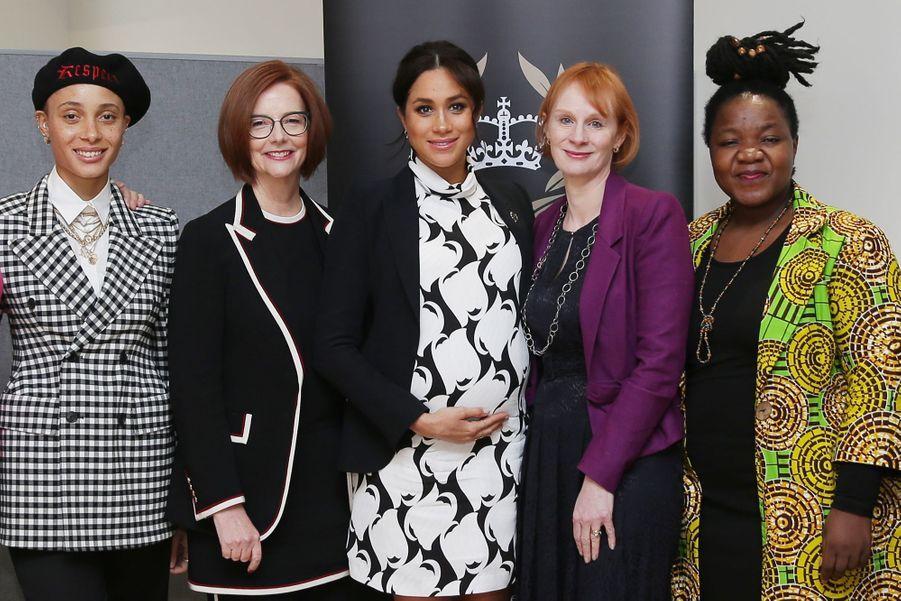 Adwoa Aboah, Julia Gillard, Meghan Markle, Anne McElvoy et Angeline Murimirwaau King's College London le 8 mars 2019