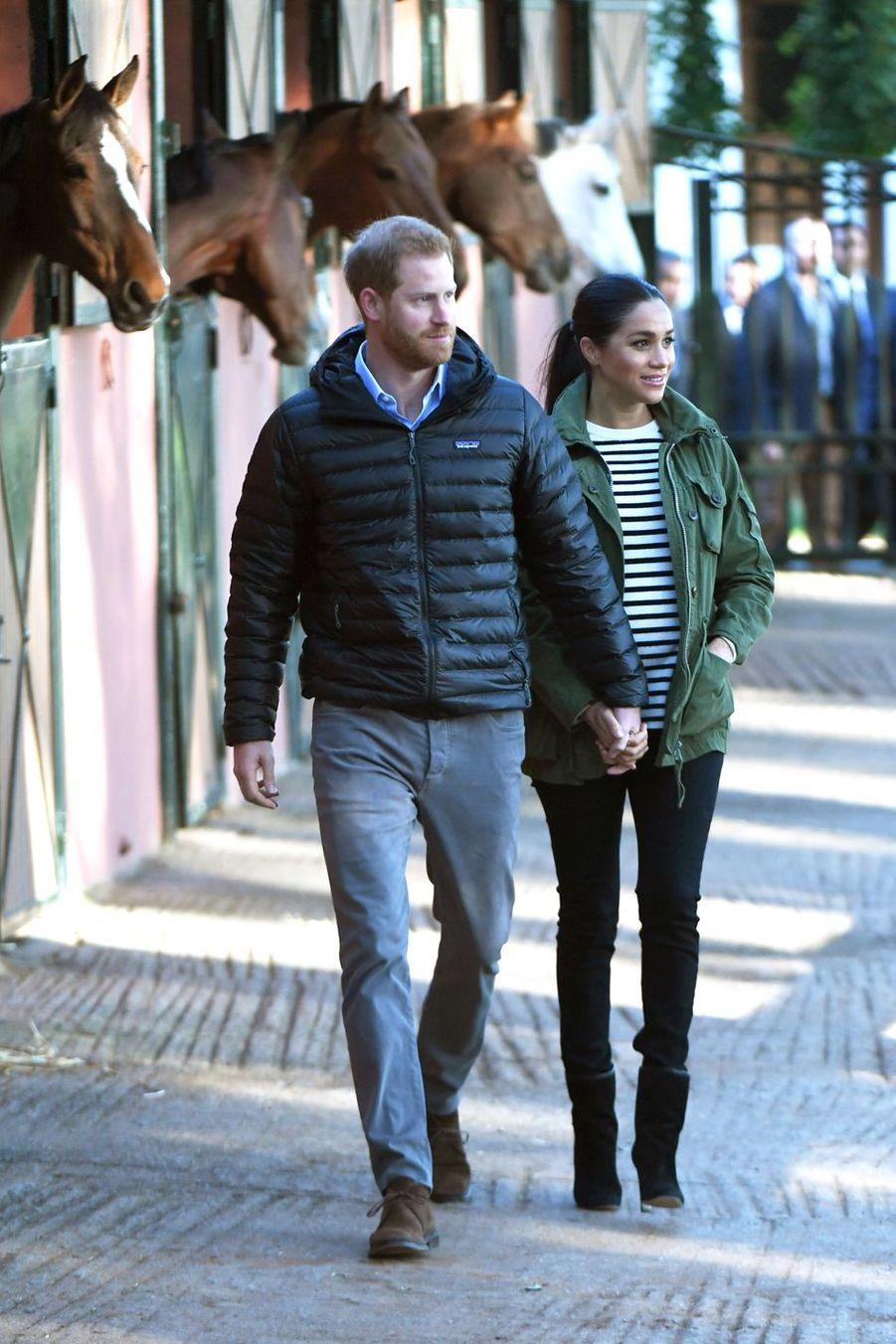 Le prince Harry et Meghan Markle en visite à la Fédération Royale Marocaine de Sports Equestres à Rabat, le 25 février 2019
