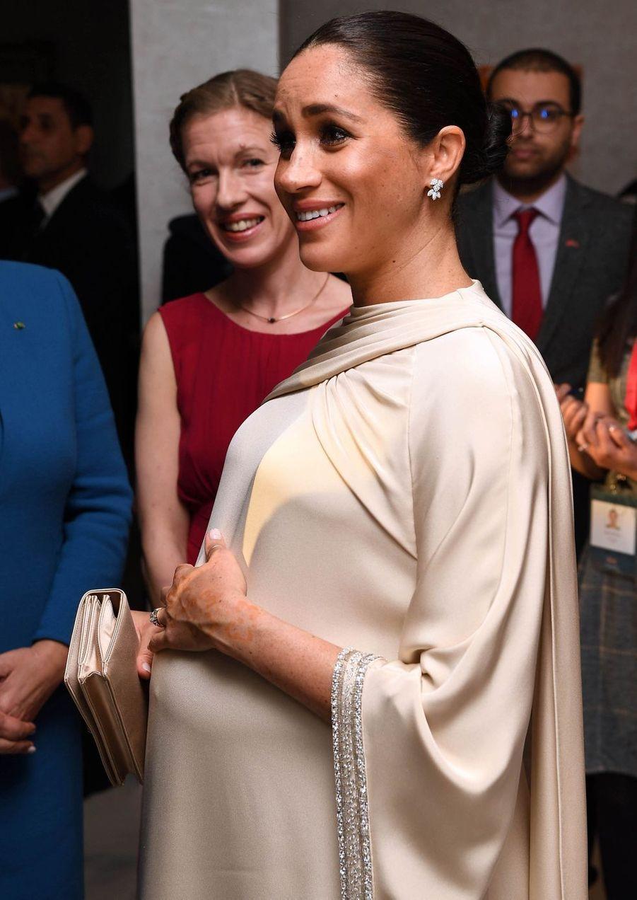 Meghan Markle assiste à une réception organisée par l'ambassadeur britannique au Maroc, Thomas Reilly, à la résidence britannique de Rabat, le 24 février 2019