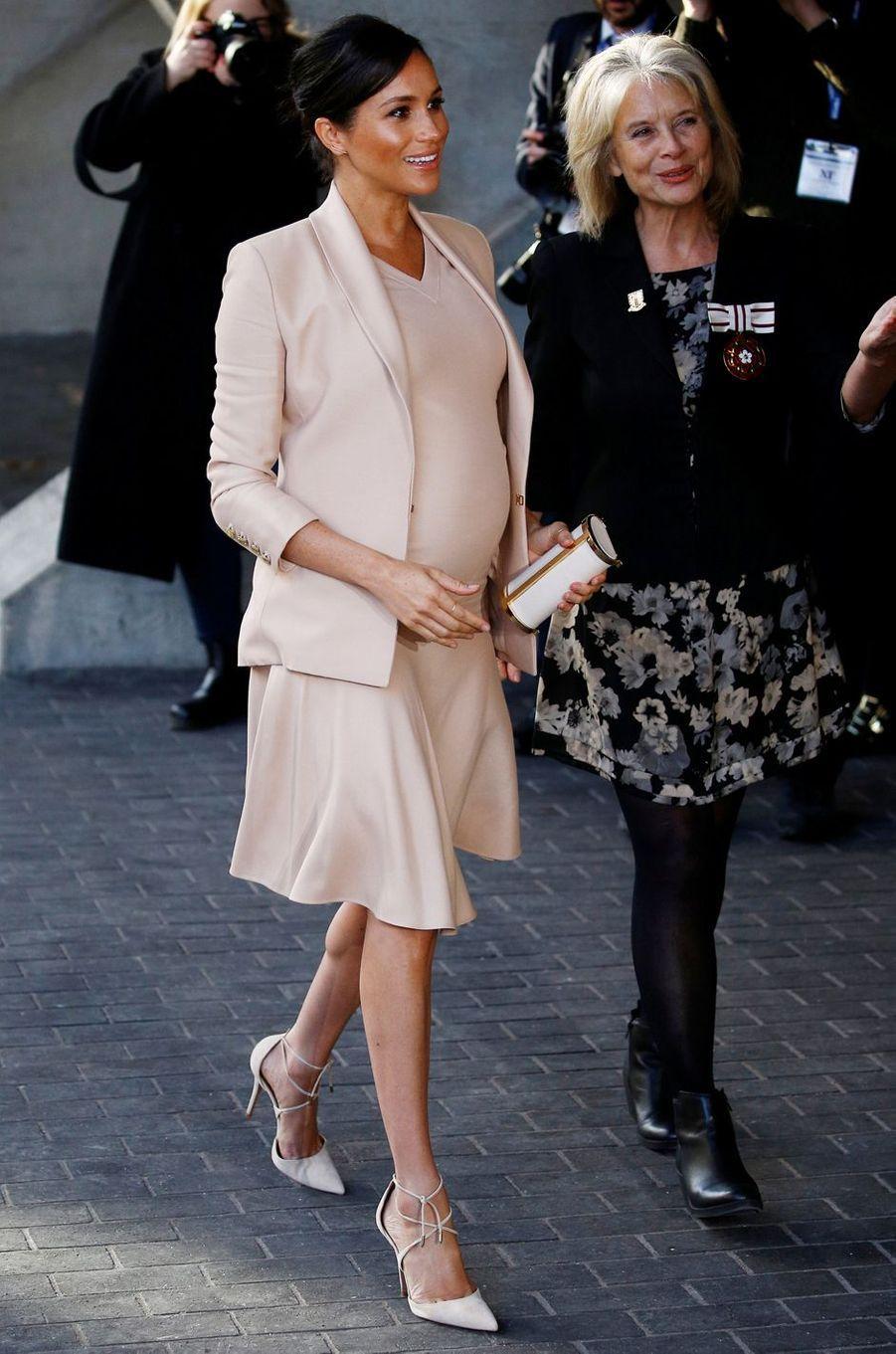 Meghan Markle, la duchesse de Sussex, au Royal National Theatre à Londres le 30 janvier 2019