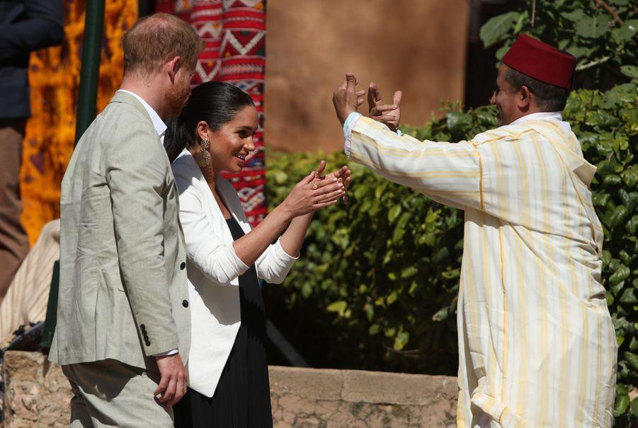 Le prince Harry et Meghan Markle lors du troisième jour de leur visite au Maroc le 25 février 2019