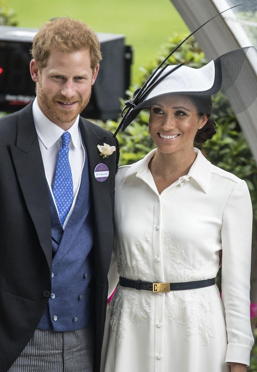 Le duc et la duchesse de Sussex durant le premier jour de la Royal Ascot,au palace St. James,le 19 juin 2018