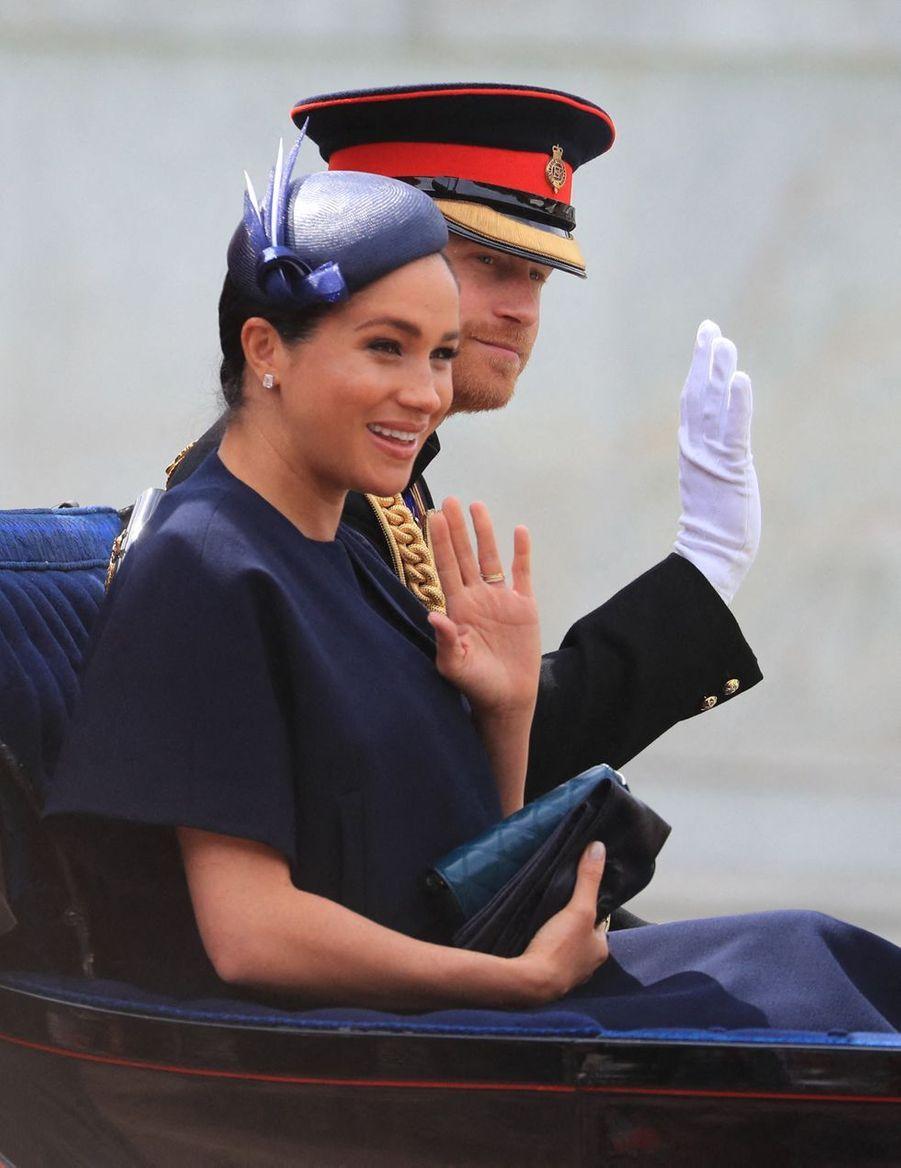 Meghan Markle et le prince Harry lors de la paradeTrooping the Colour à Londres le 8 juin 2019