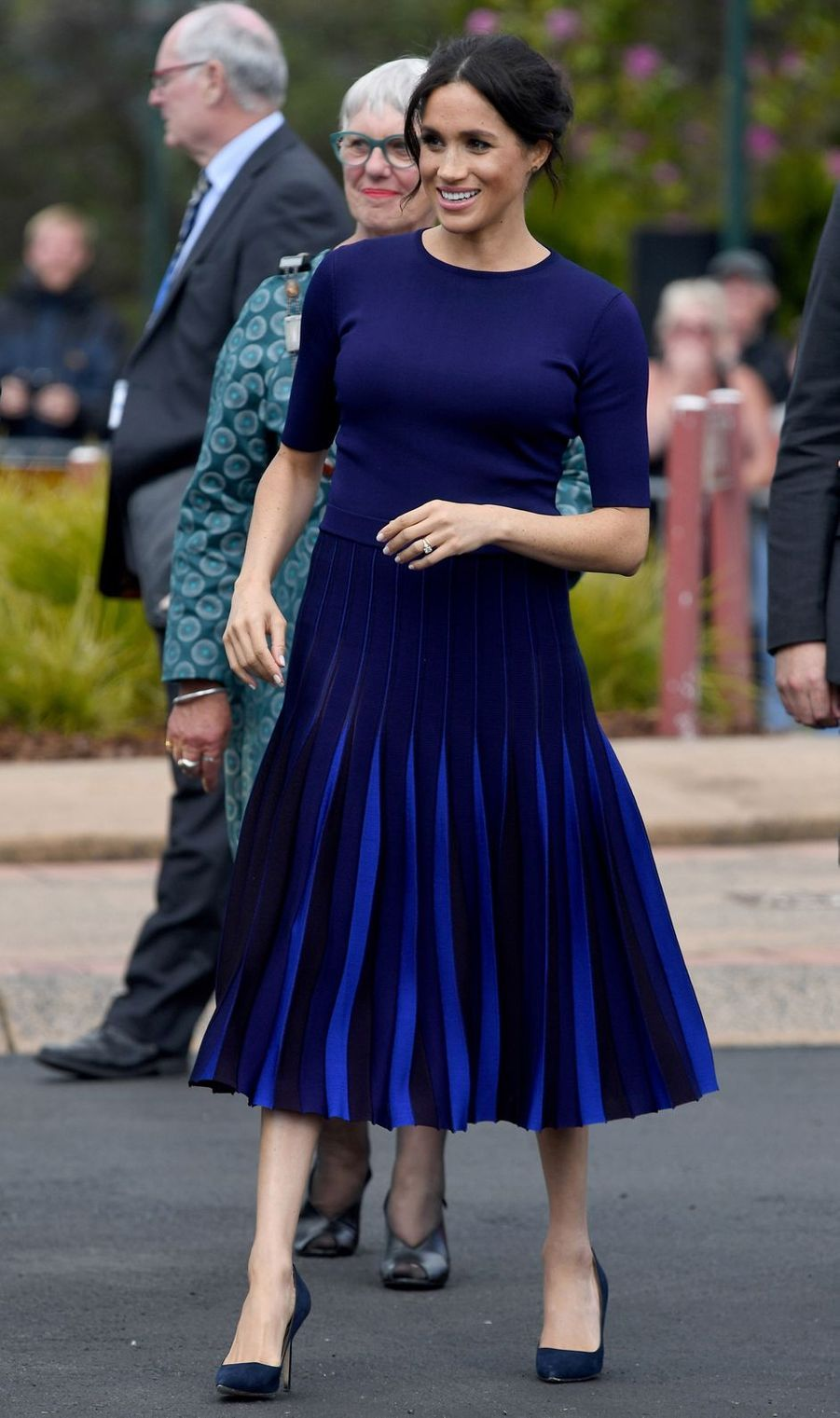 Meghan Markle, dans un ensemble Givenchy, en Nouvelle Zélande le 31 octobre 2018