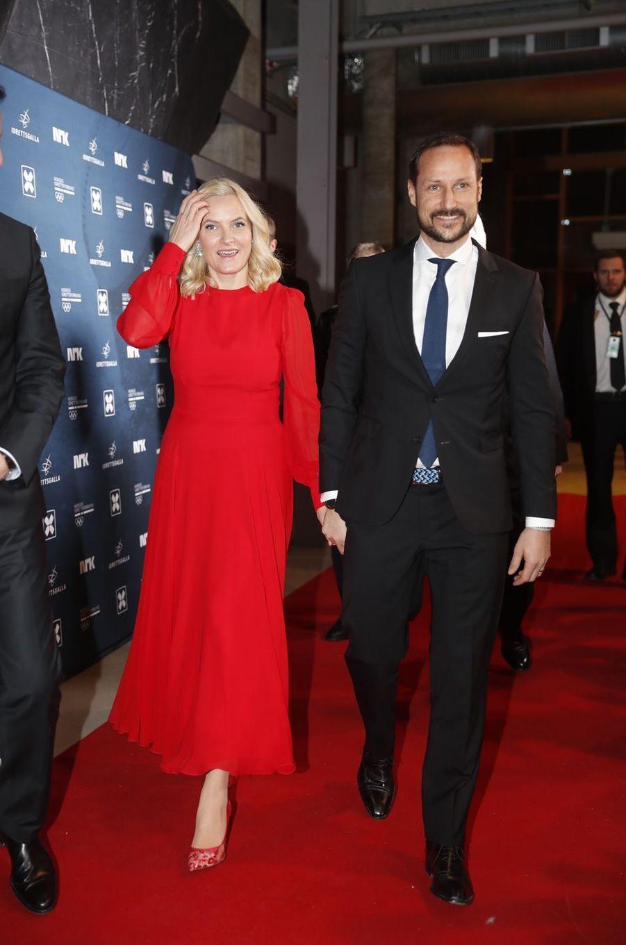 La princesse Mette-Marit et le prince Haakon de Norvège au Gala des sports à Hamar, le 6 janvier 2018