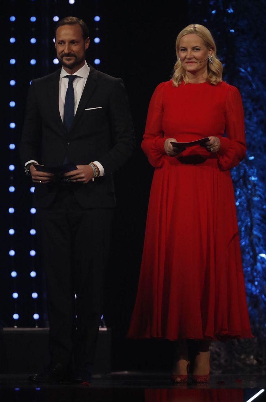 La princesse Mette-Marit et le prince Haakon de Norvège à Hamar, le 6 janvier 2018