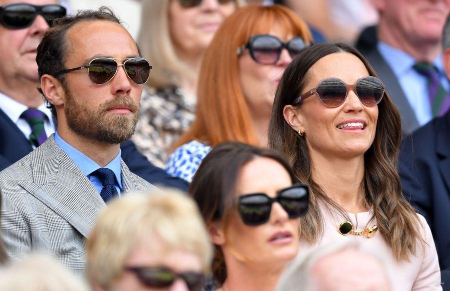 James et Pippa Middleton à Wimbledon le 8 juillet 2019