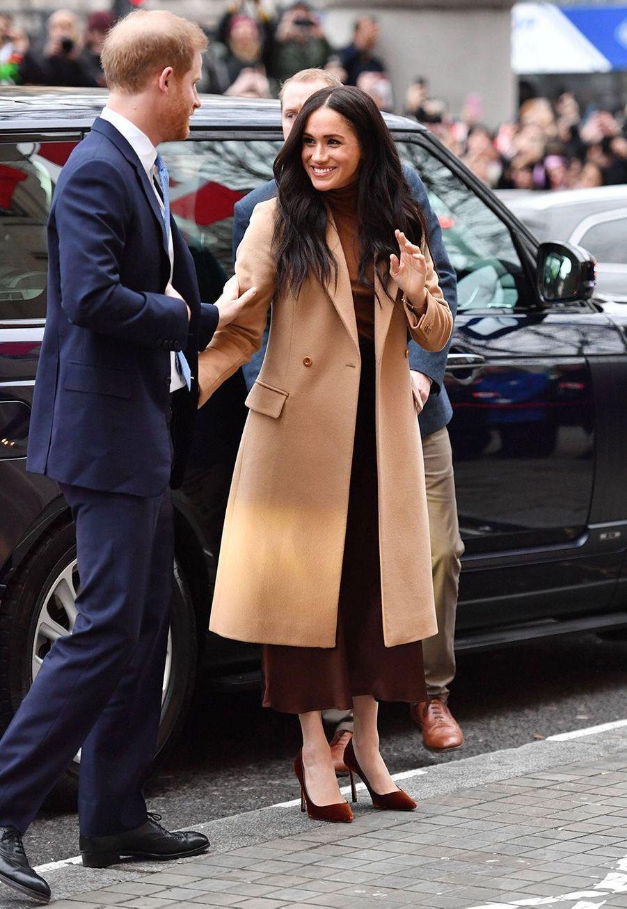 Meghan Markle et le prince Harry visitent la Maison du Canada à Londres le 7 janvier 2020