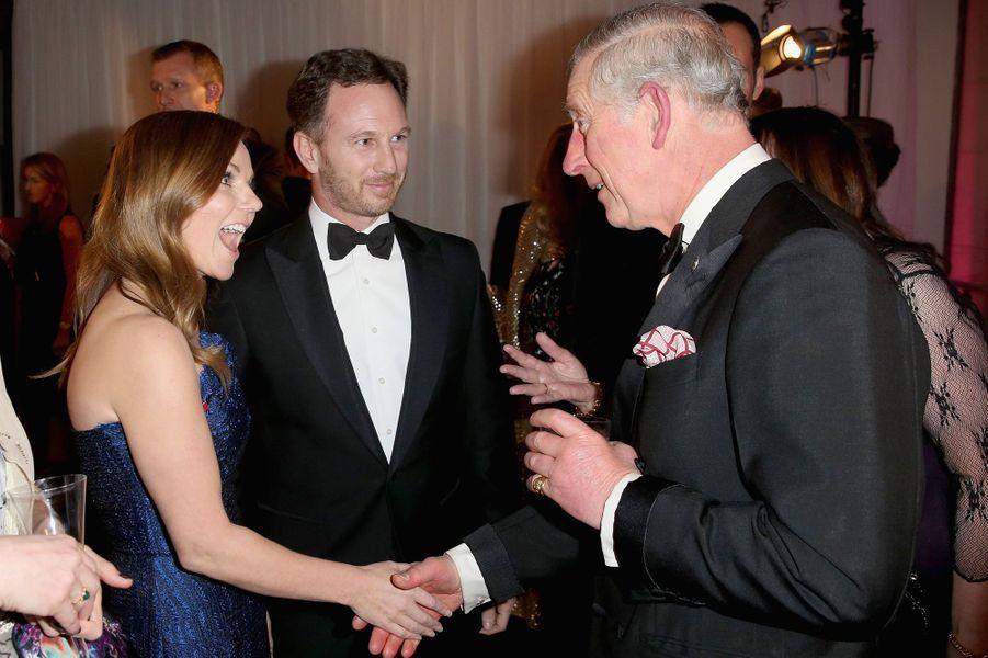 Le prince Charles avec Geri Halliwell et Christian Horner à Londres, le 4 février 2016