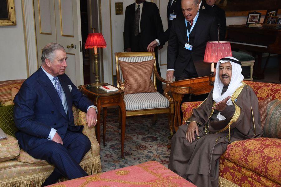 Le prince Charles avec l'émir du Koweït à Londres, le 4 février 2016