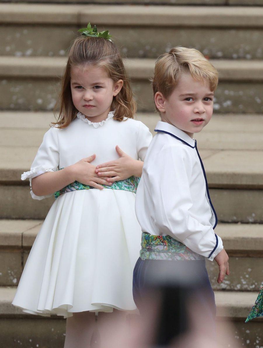 La princesse Charlotte et le prince George, demoiselle et garçon d'honneur au mariage de la princesse Eugenie d'York