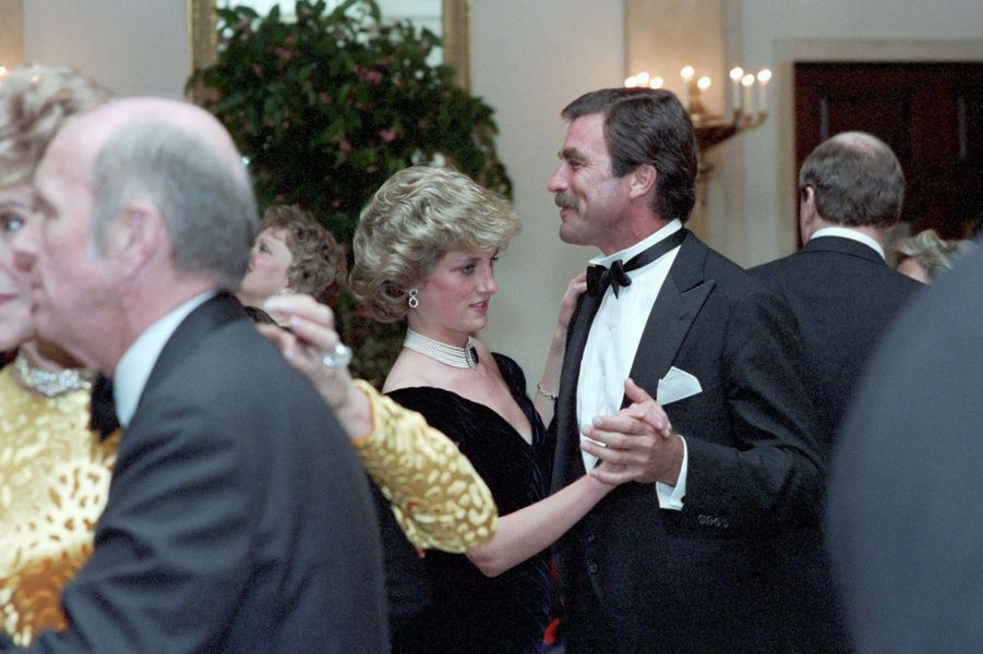 Lady Diana avec Tom Selleck à Washington, le 9 novembre 1985