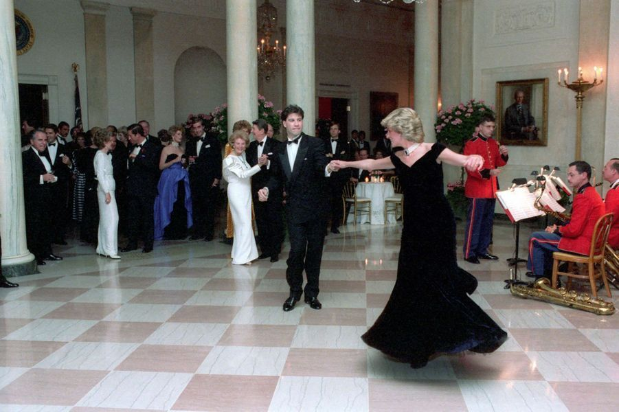 Lady Diana et John Travolta à Washington, le 9 novembre 1985