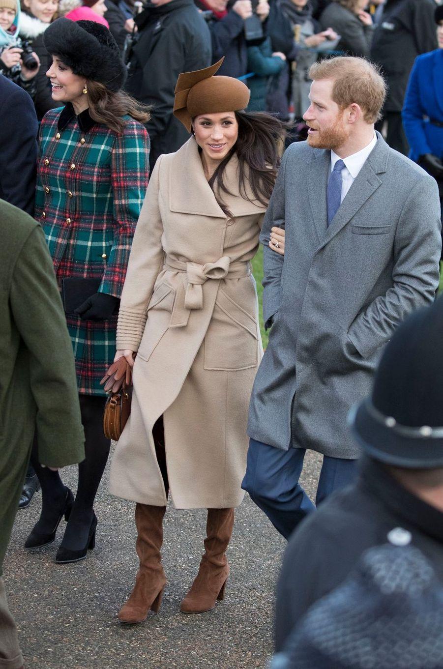 La duchesse Catherine de Cambridge et Meghan Markle à Sandringham, le 25 décembre 2017