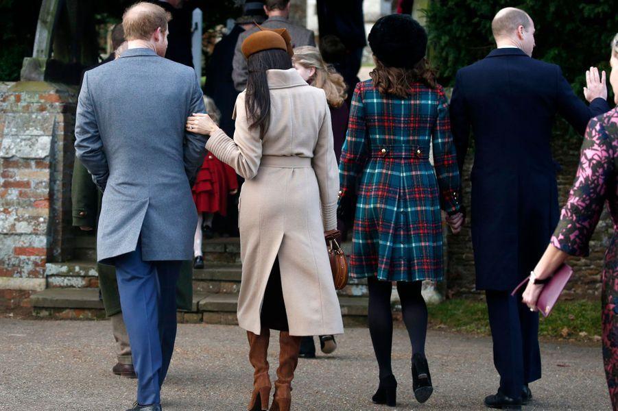 Meghan Markle et la duchesse Catherine de Cambridge à Sandringham, le 25 décembre 2017