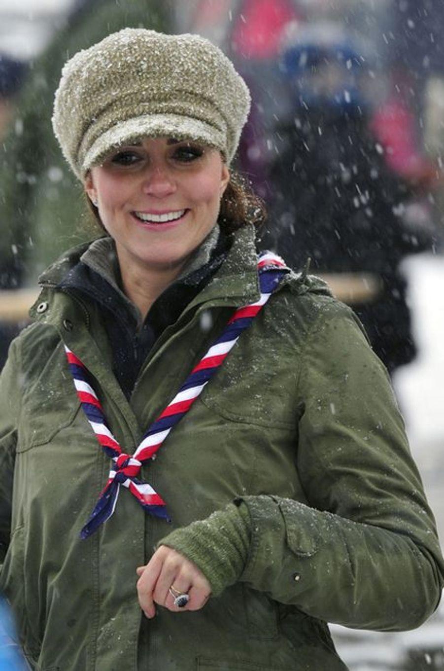 La duchesse Catherine de Cambridge en Barbour dans le Cumbria, le 22 mars 2013